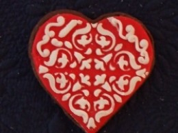 Red and white stenciled heart