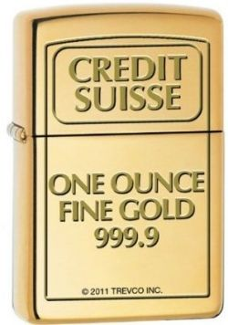 Zippo Custom Lighter - Credit Suisse Gold Bar Engraved High Polish Brass Logo