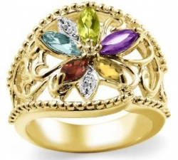 Gold Plated Sterling Silver Multi-Gemstone Floral Ring
