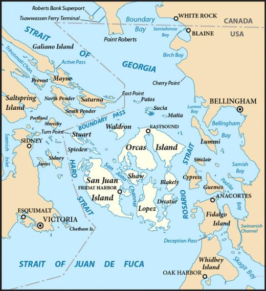 map of San Juan Islands, Washington