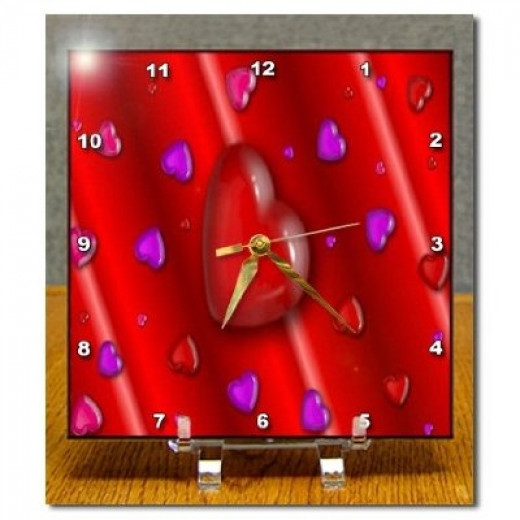 Valentines Love Heart Pattern2 Desk Clock