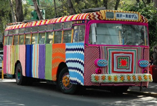 Mexican bus yarn bomb