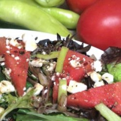 Watermelon Summer Salad with Feta and Spicy Vinaigrette