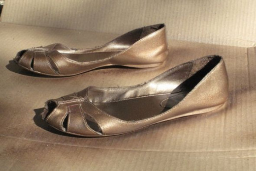 spray painted shoes, bronze metallic color