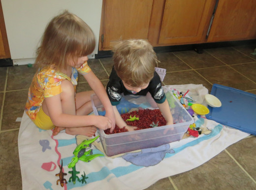 My 3 and 4 year olds playing with the dinosaur box