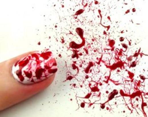 Dexter inspired blood spatter Halloween nail art manicure tutorial