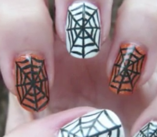 Spider web Halloween nail art manicure tutorial (video)