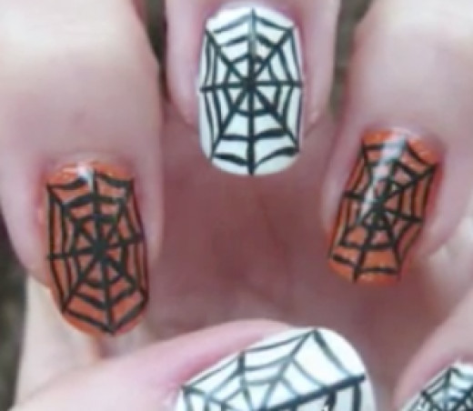 Spider web Halloween nail art manicure tutorial (video)