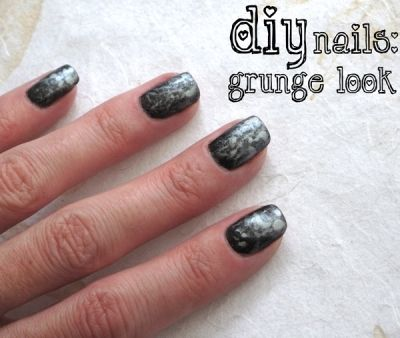 Grunge Nail Art Manicure Alternative: Black glitter polish with silver accents
