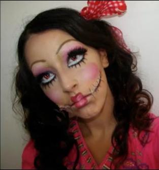 creepy doll halloween makeup tutorial {video}