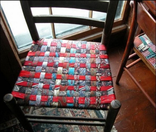 upcycled necktie, diy tutorial, how-to, necktie crafts, woven chair seat, craft project