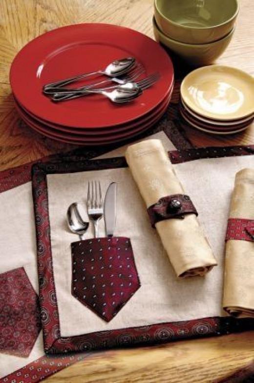 upcycled necktie, tutorial, diy, necktie craft project, necktie,  sewing tutorial, diy placemats, diy napkin rings