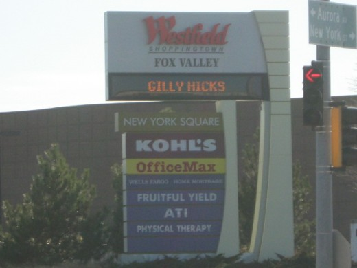 Signage along Route 59 on Naperville's west edge for shopping at Westfield Mall and many surrounding businesses