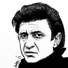artist's drawing of Johnny Cash