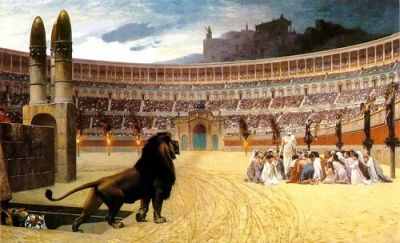 Christians were thrown to thel lions in ancient Rome.