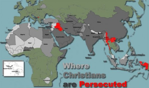 The Persecuted Church map