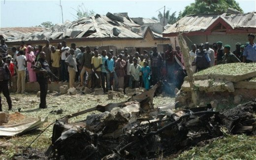 a suicide bomber crashed a jeep laden with explosives into a packed Catholic church in Kaduna, northern Nigeria, killing at least eight people and injuring more than 100.