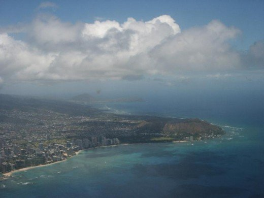 Beautiful ariel of Waikiki from the airplane