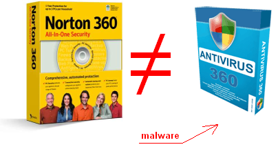 Rogue Antivirus 360 sounds confusing because it reminds of Norton 360 security package.