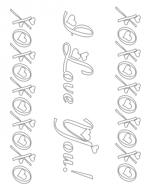 XOXO I Love You Valentine's Day Coloring Sheet