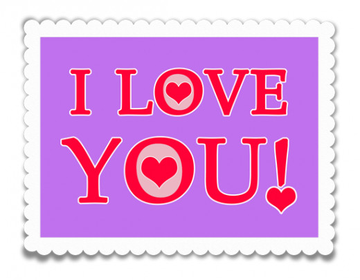 I love you clip art purple and read stamp.