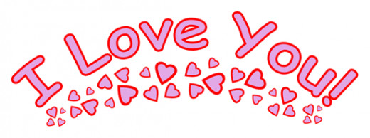 I love you clip art with pink and purple hearts.