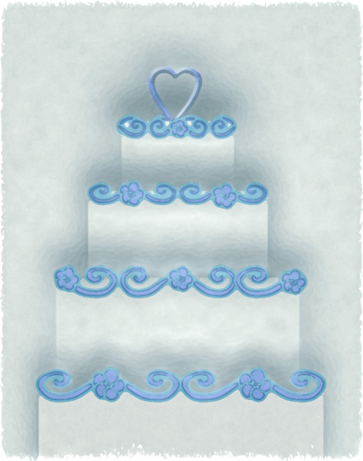 Blue And White Four Tier Cake Clipart