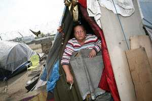 Homeless woman in Fresno's tent city