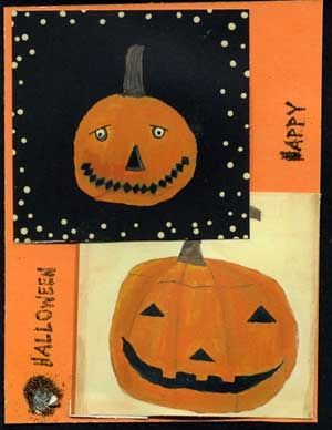 Halloween Card With Quilted Jack- o' Lanterns