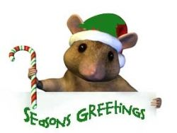 Christmas Chipmunk with Santa Cap and Candy Cane