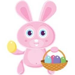 Pink Easter Bunny with Basket of Eggs