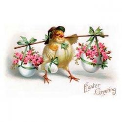 Easter Chicken Carrying Baskets of Pink Flowers