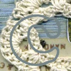 Letter C with Crocheted Background