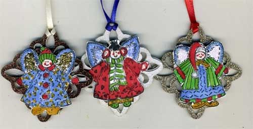 Holiday Tree Ornaments with Embossed Angels