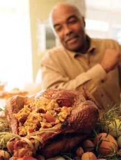 Man Cooking Roast Turkey