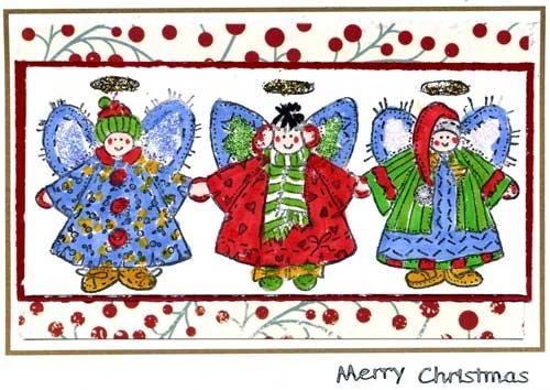 Three Angels Christmas Card