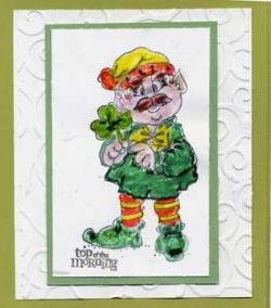 St. Patrick's Day Card with Stamped Leprechaun