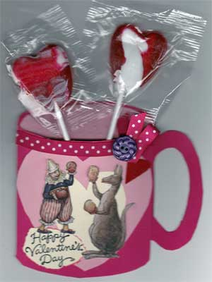 Another cup-shaped Valentine card. This one is for a child, and contains lollipops.