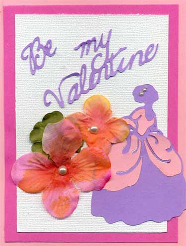 Valentine Card with Romantic lady die cut.