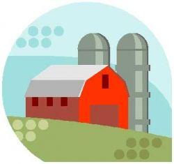 Cartoon Farm Scene With Barn