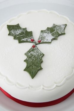 Top of Fruit Cake, Iced and decorated with a sprig of holly