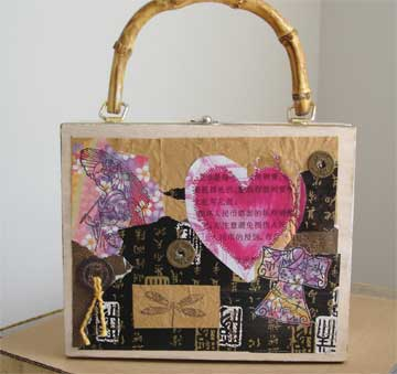 Cigar box purse, Asian theme, with decorative heart. Suitable for a Valentine gift.