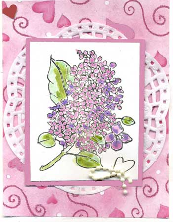 Stamped Lilac on lace doily makes a good Valentine card.