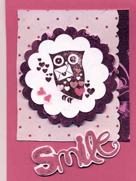 Owl Valentine card for child.