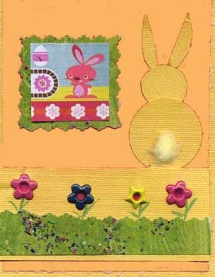 Easter Card with Easter Bunny, Fluffy Tail and Eyelet Flowers.