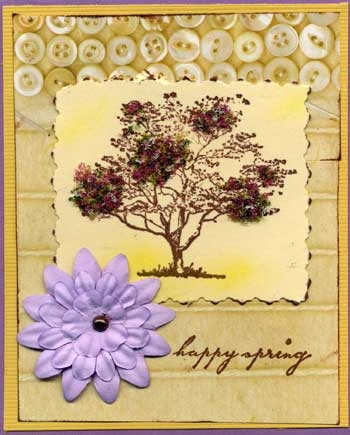 Easter Card with Stamped Flowering Tree Decorated with Flower Soft