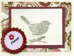 Hand Made Greeting Card with Stamped Image of a Bird