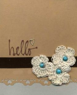 Hand Made Greeting Card with Crocheted Flowers