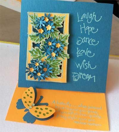 Easel card with stamping, heat embossing and punched shapes