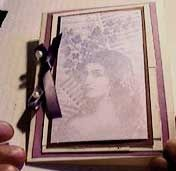 Greeting Card with Stamped Image of a Woman's Face